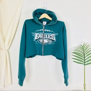 NFL Philadelphia Eagles Green Cropped Zip Hoodie